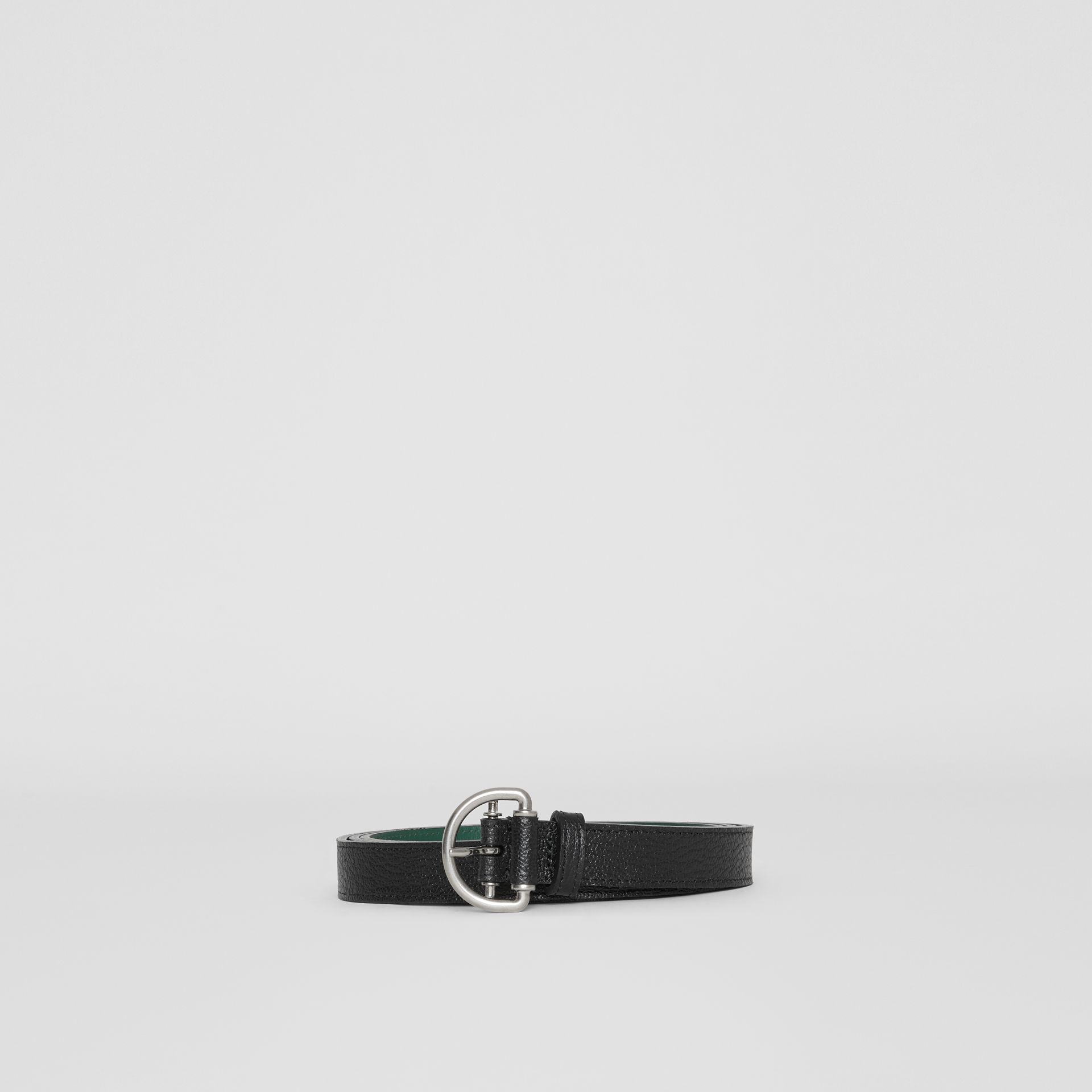 Grainy Leather D-ring Belt in Black/sea Green - Women | Burberry - gallery image 3