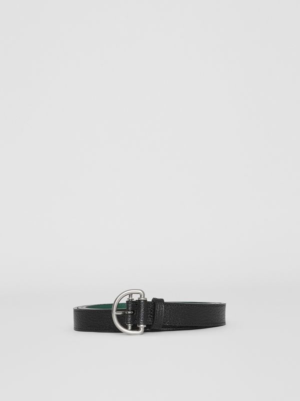 Grainy Leather D-ring Belt in Black/sea Green - Women | Burberry - cell image 3