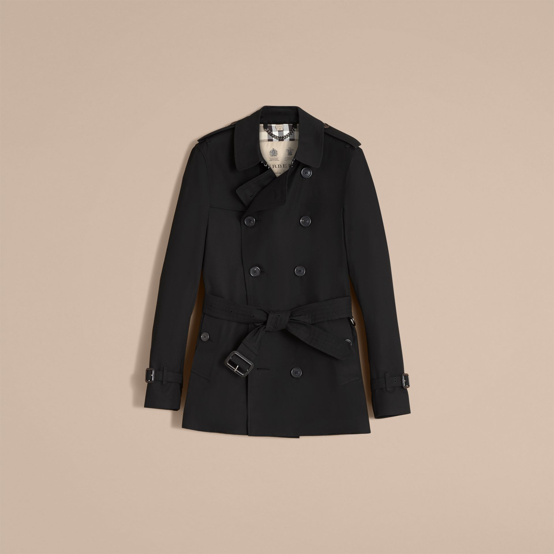 Black The Sandringham – Short Heritage Trench Coat Black - gallery image 5
