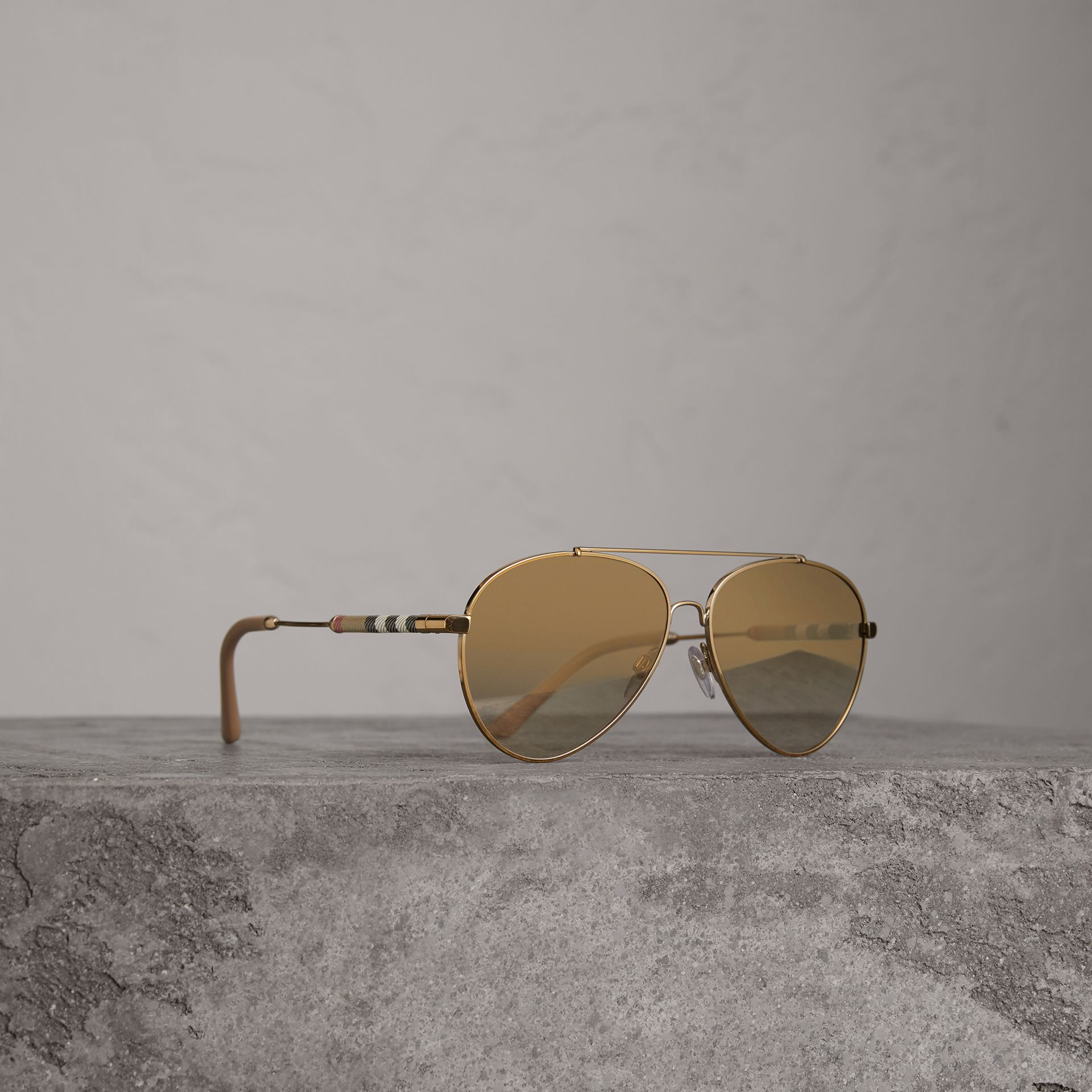 Check Detail Pilot Sunglasses in Nude - Women | Burberry - gallery image 0