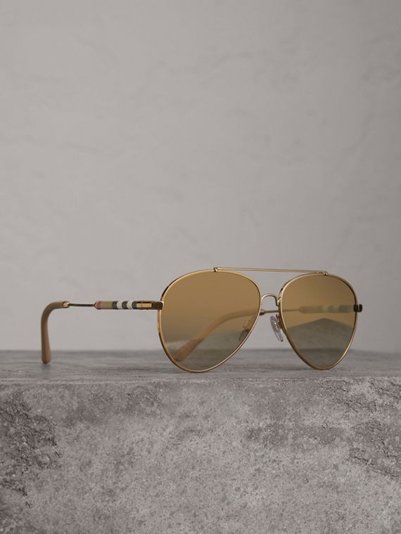 Check Detail Pilot Sunglasses in Nude