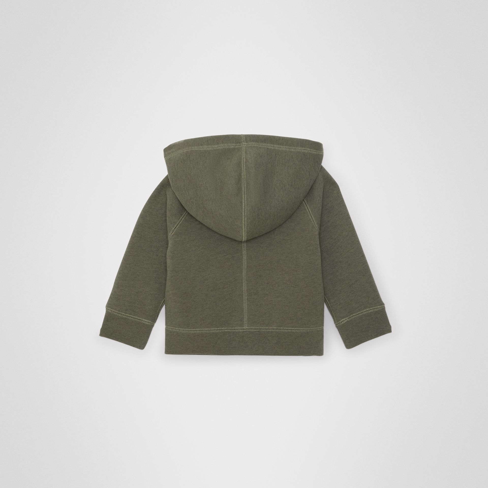 Cotton Jersey Hooded Top in Olive Melange - Children | Burberry Australia - gallery image 3