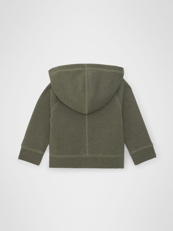 Cotton Jersey Hooded Top in Olive Melange - Children | Burberry Australia - cell image 3