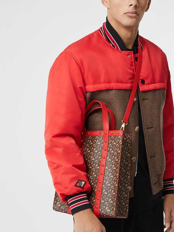 Small Monogram Print E-canvas Portrait Tote Bag in Bright Red - Women | Burberry - cell image 3
