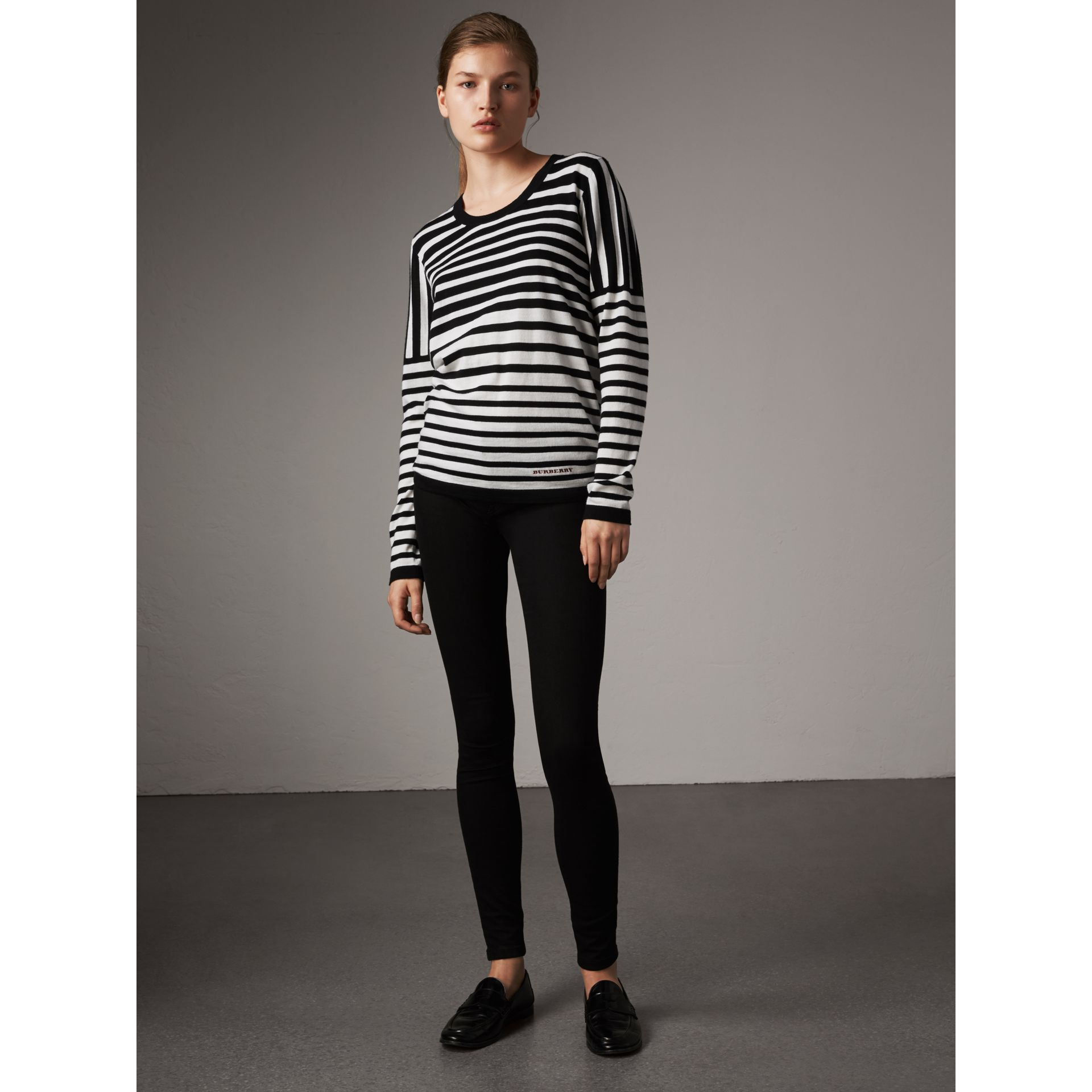 Graduated Stripe Merino Wool Sweater in Black/natural White - Women | Burberry - gallery image 5