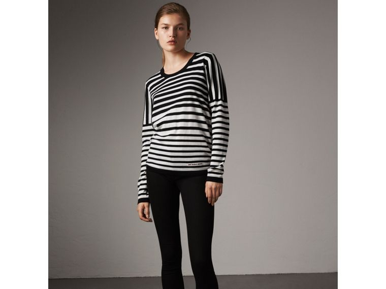 Graduated Stripe Merino Wool Sweater in Black/natural White - Women | Burberry - cell image 4