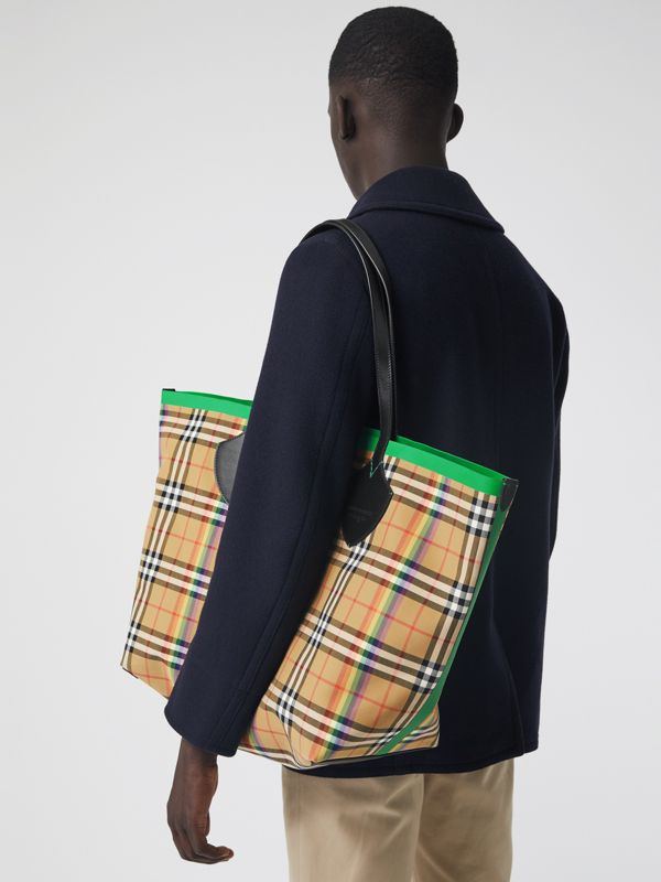 The Medium Giant Tote mit Rainbow Vintage Check-Muster (Antikgelb) | Burberry - cell image 3