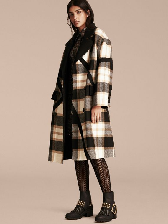 Double-breasted Check Wool Coat