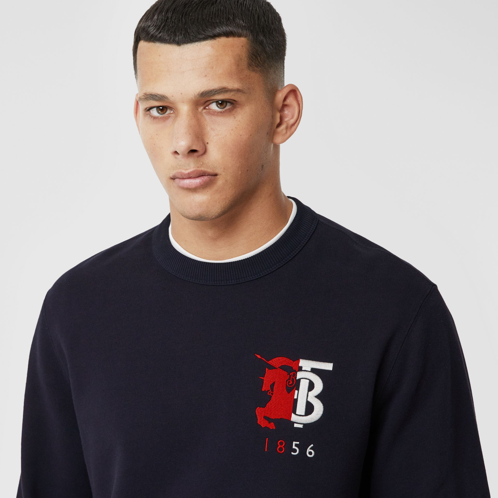 Contrast Logo Graphic Cotton Sweatshirt in Navy - Men | Burberry United Kingdom - gallery image 1