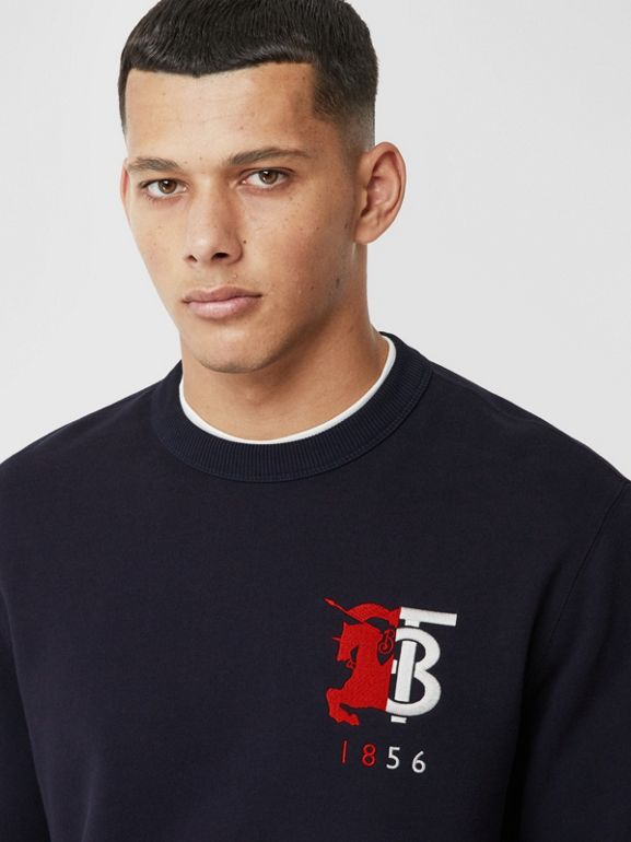 Contrast Logo Graphic Cotton Sweatshirt in Navy - Men | Burberry United Kingdom - cell image 1