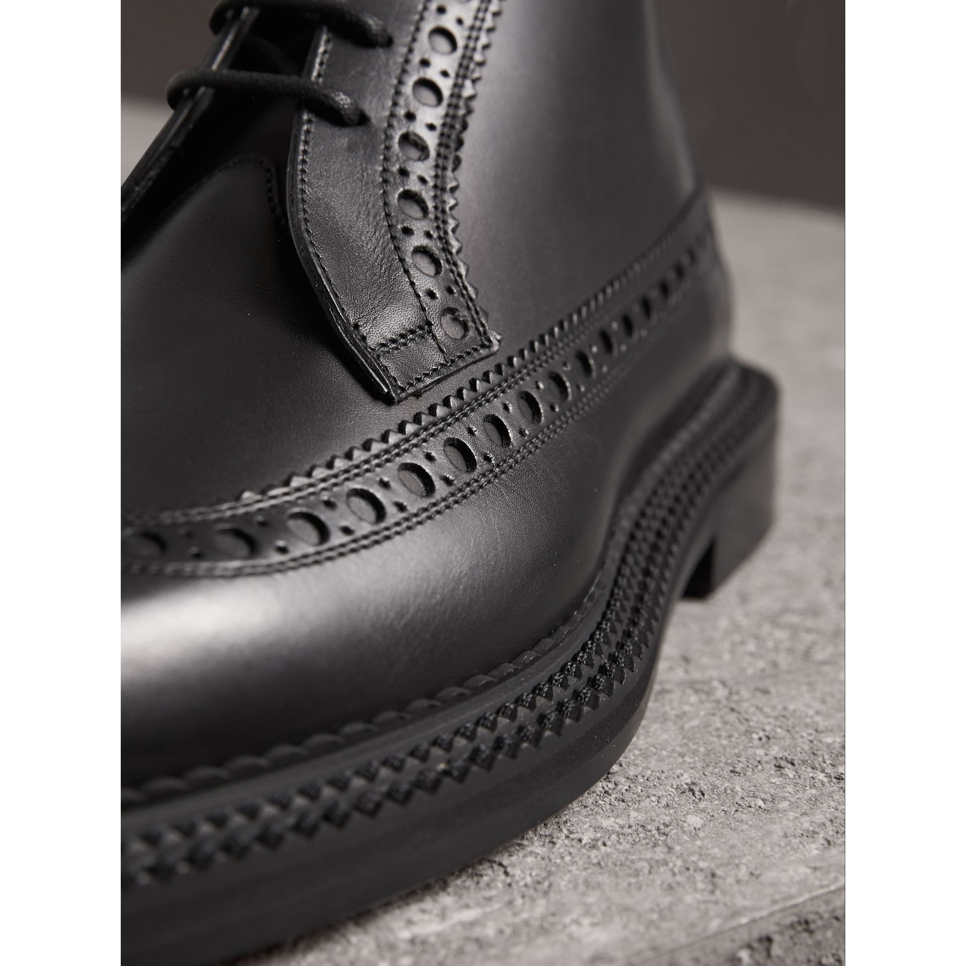 Leather Brogue Boots in Black - Men | Burberry Singapore - gallery image 2