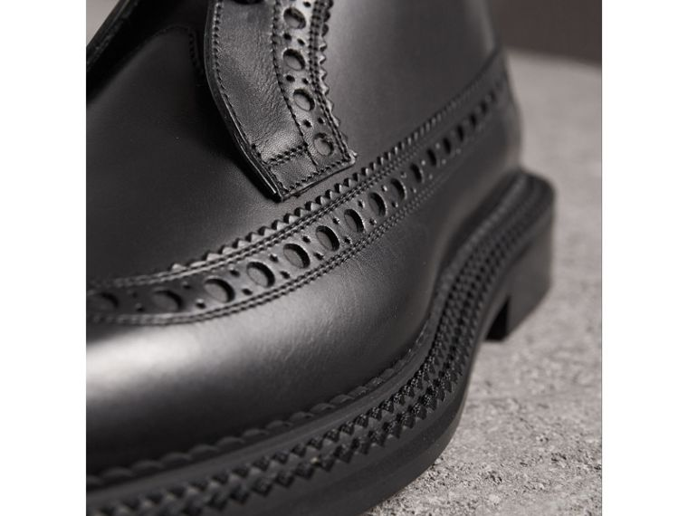 Leather Brogue Boots in Black - Men | Burberry Singapore - cell image 1