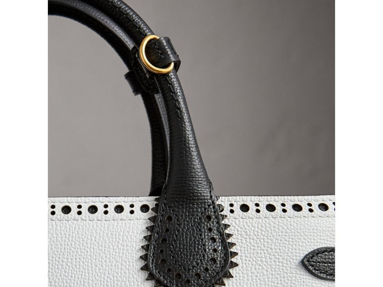 The Medium Banner in Brogue Detail Leather in Chalk White/black - Women | Burberry - cell image 1
