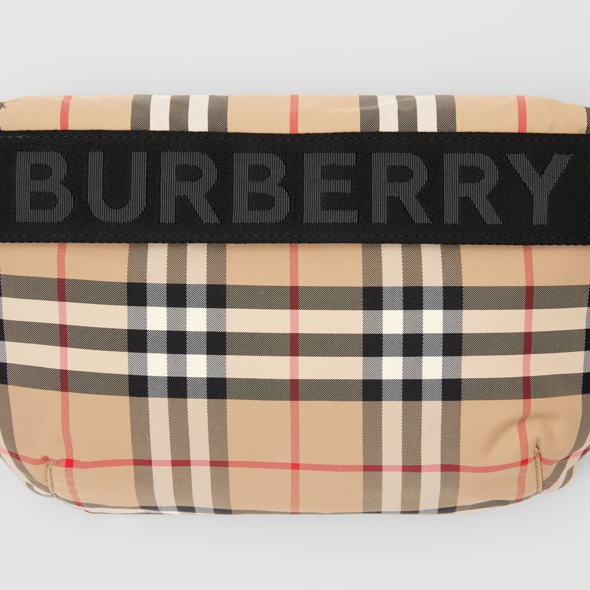 Medium Vintage Check and Icon Stripe Bum Bag in Archive Beige - Women | Burberry - gallery image 1