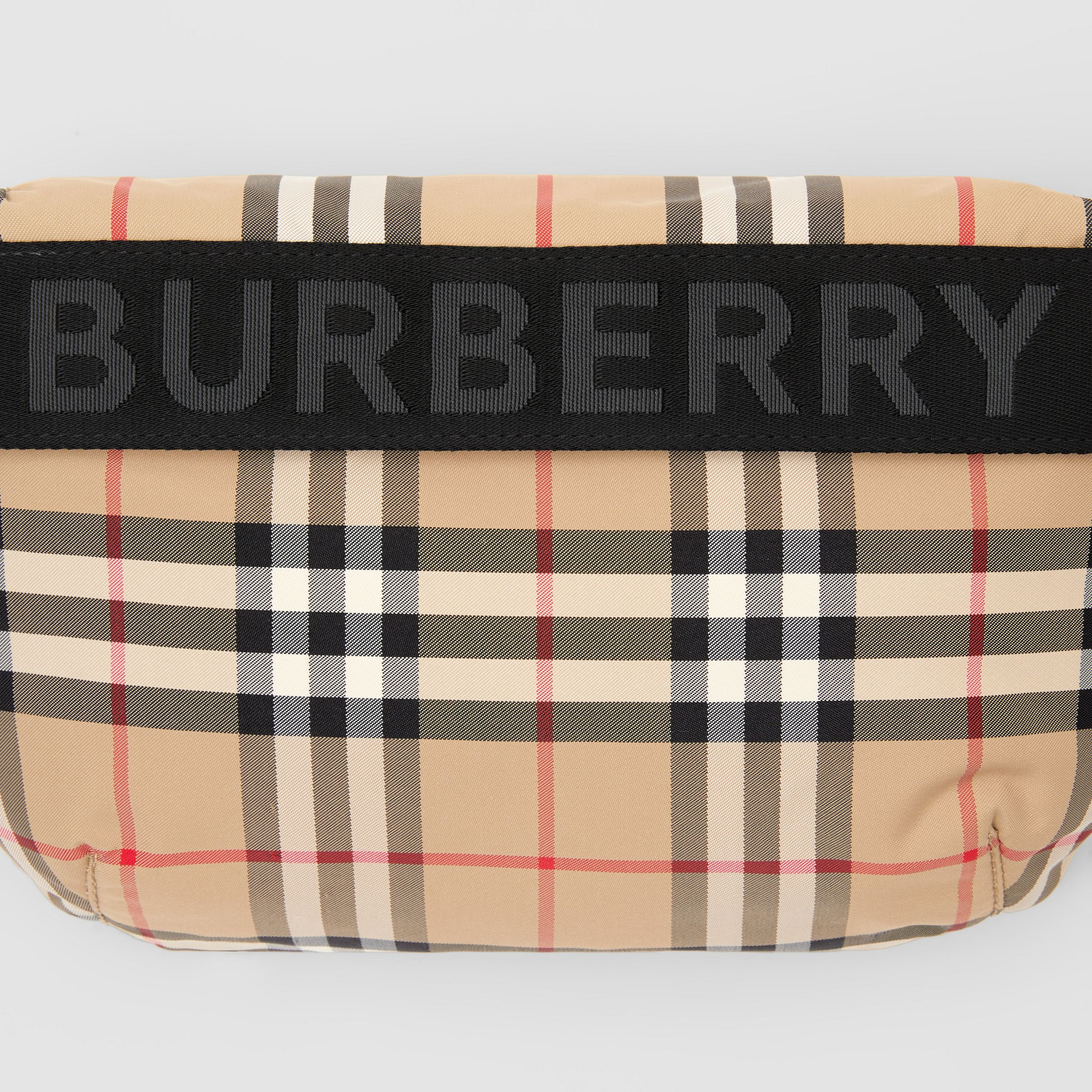 Medium Vintage Check and Icon Stripe Bum Bag in Archive Beige | Burberry - 2