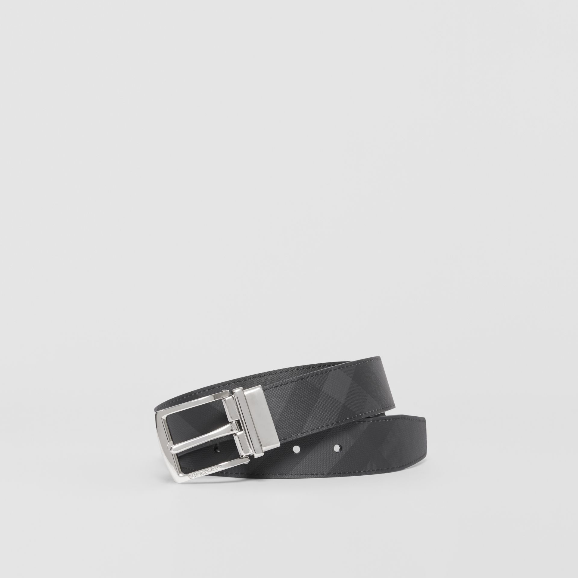 Reversible London Check and Leather Belt in Dark Charcoal/black - Men | Burberry - gallery image 0