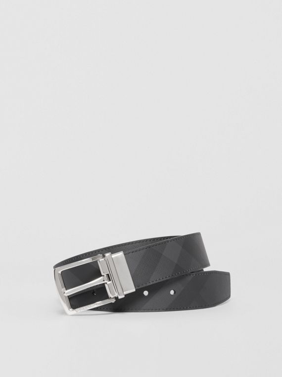 Reversible London Check and Leather Belt in Dark Charcoal/black