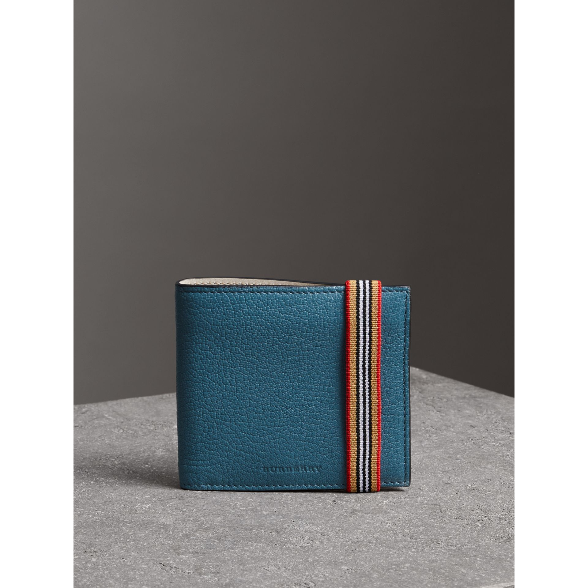 Icon Stripe Leather International Bifold Wallet in Peacock Blue - Men | Burberry - gallery image 4