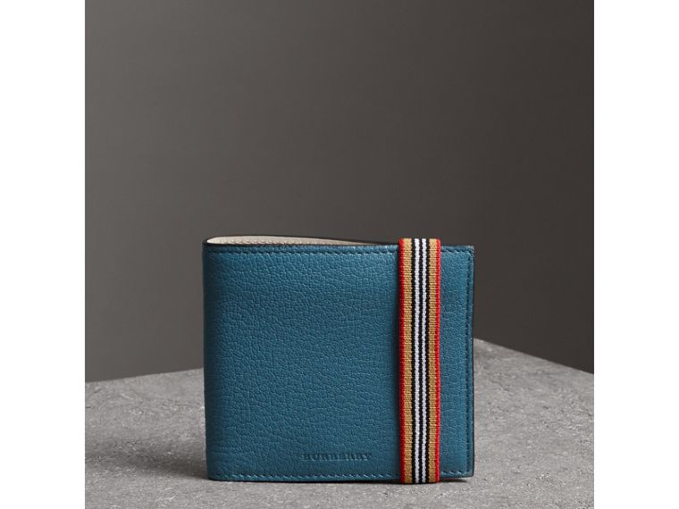 Heritage Stripe Leather International Bifold Wallet in Peacock Blue - Men | Burberry United Kingdom - cell image 4