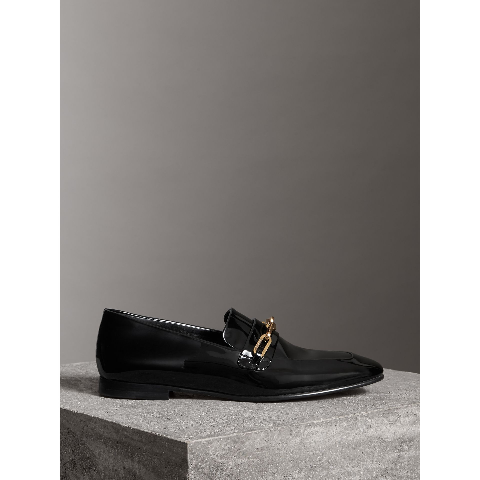 Link Detail Patent Leather Loafers in Black - Women | Burberry - gallery image 4