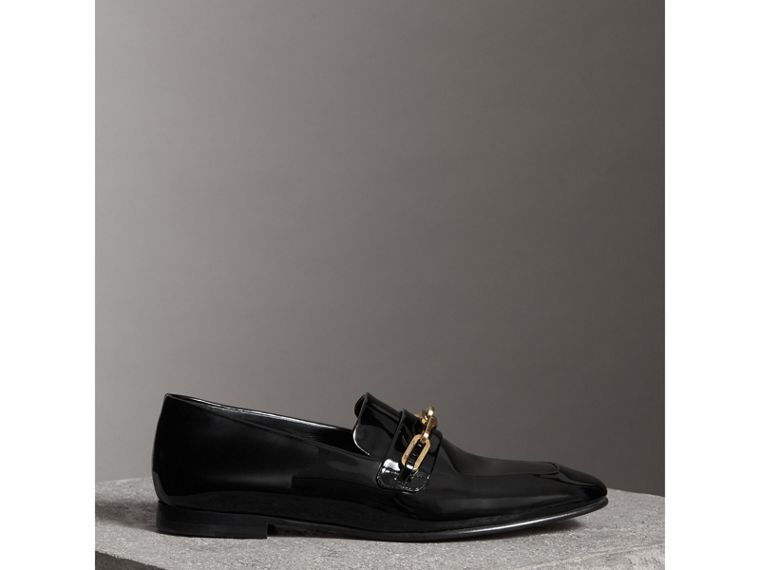 Link Detail Patent Leather Loafers in Black - Women | Burberry - cell image 4