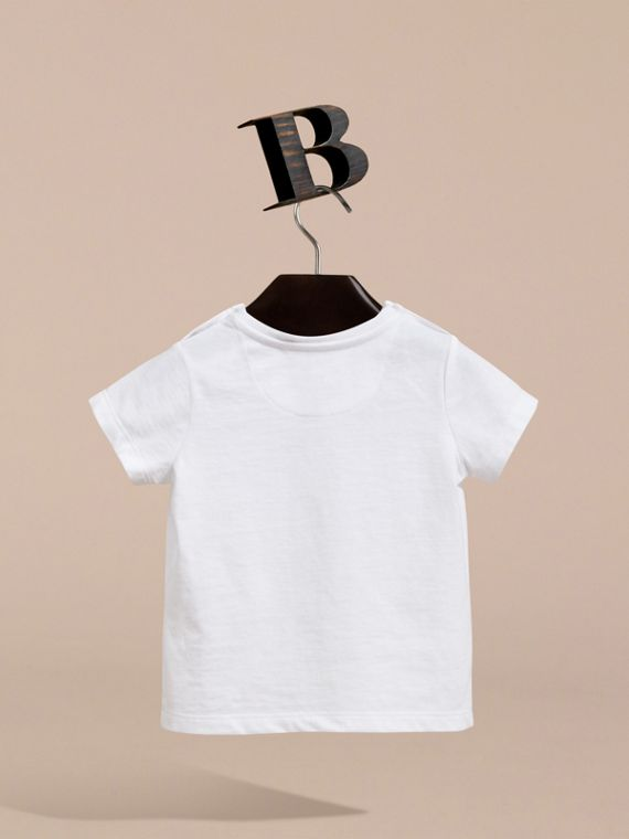 Waves and Eye Graphic Print Cotton T-shirt in White | Burberry - cell image 3