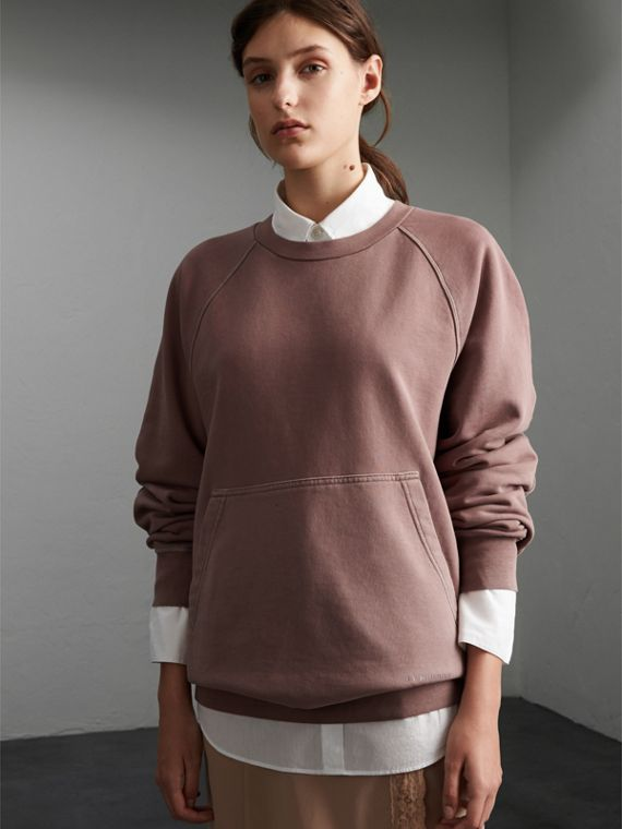 Unisex Pigment-dyed Cotton Oversize Sweatshirt in Dusty Mauve - Women | Burberry Hong Kong
