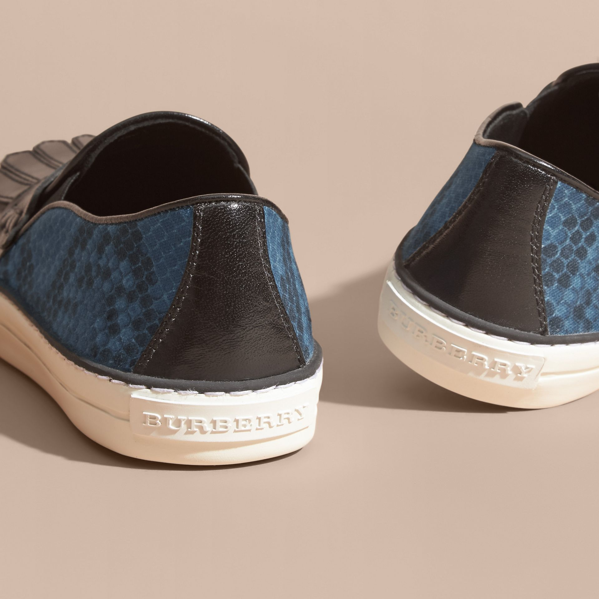 Black/mineral blue Python Print Cotton and Leather Trainers Black/mineral Blue - gallery image 4