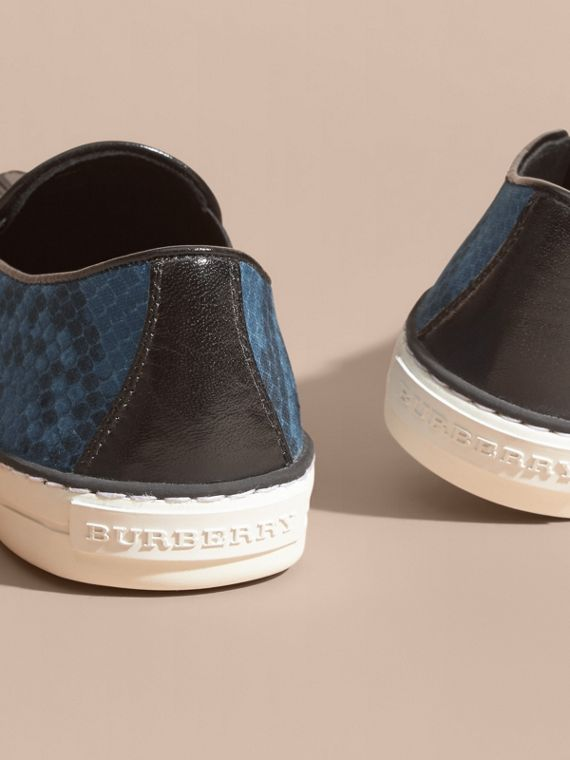 Black/mineral blue Python Print Cotton and Leather Trainers Black/mineral Blue - cell image 3