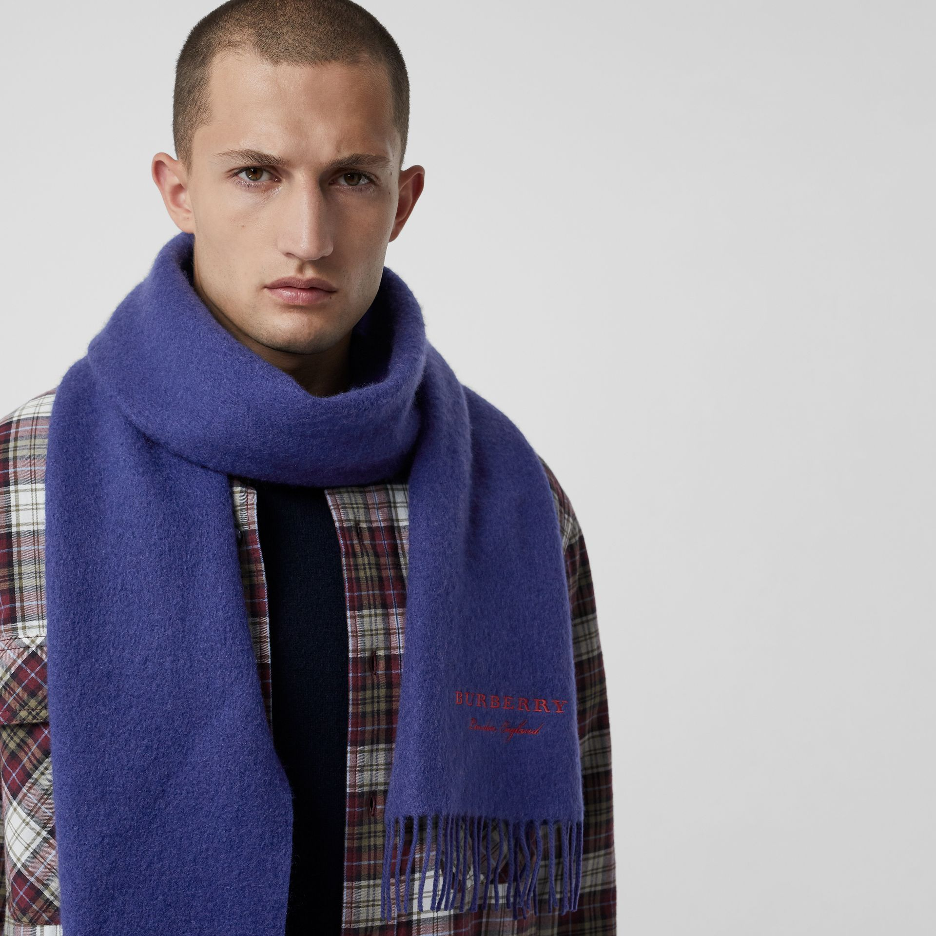 Embroidered Cashmere Fleece Scarf in Bright Navy | Burberry Australia - gallery image 6