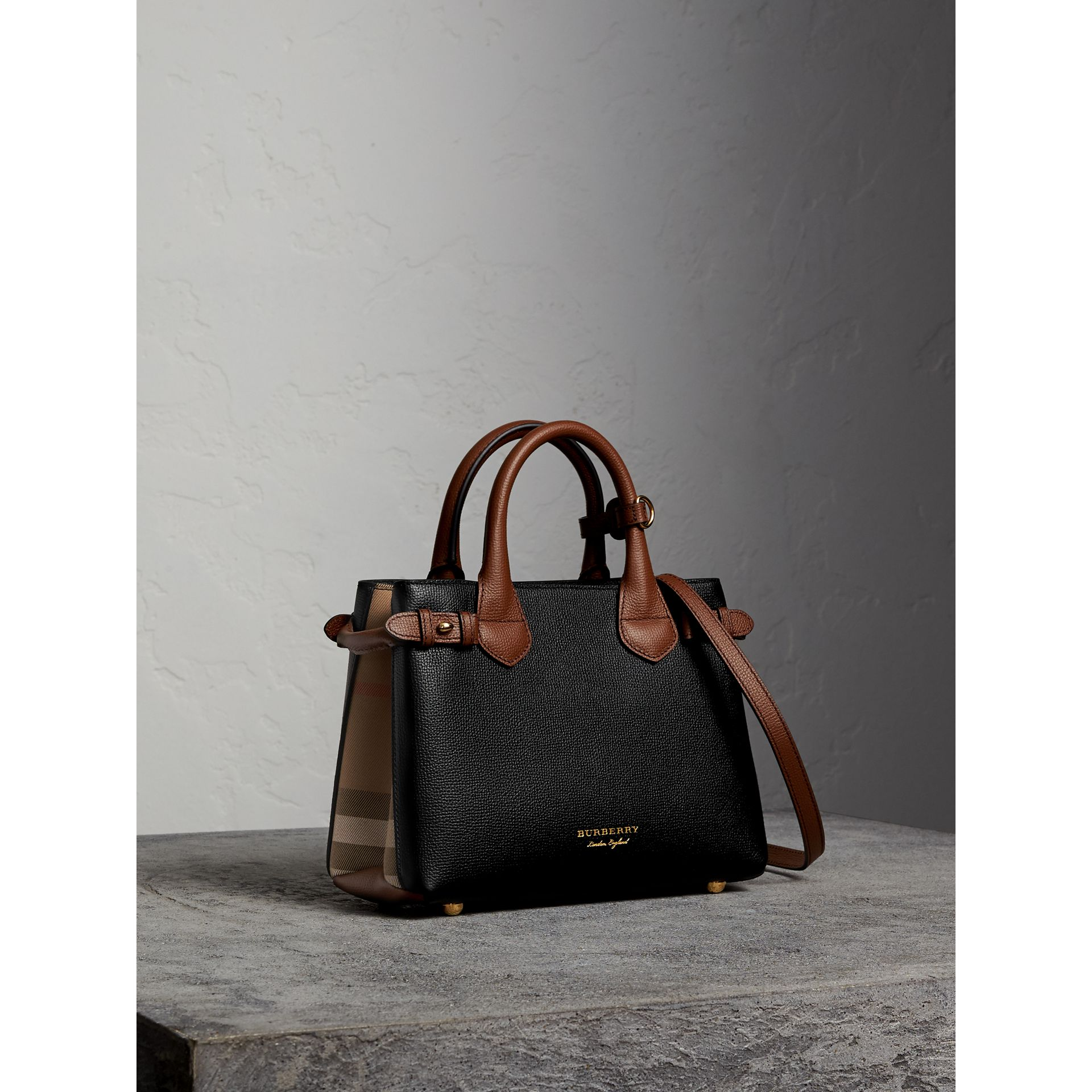 The Small Banner in Leather and House Check in Black/tan - Women | Burberry Singapore - gallery image 1