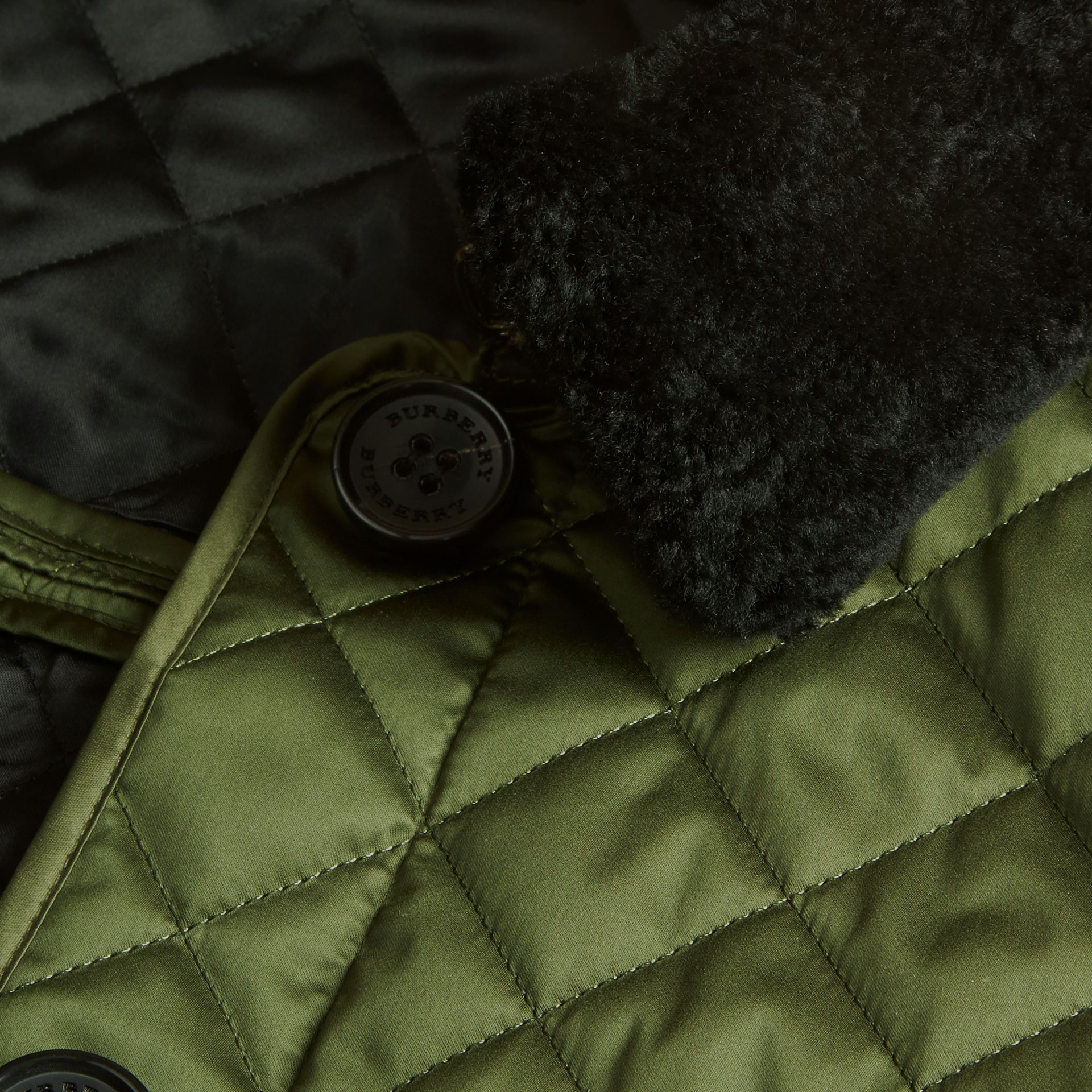 Bright moss green Quilted Jacket with Shearling Collar - gallery image 2