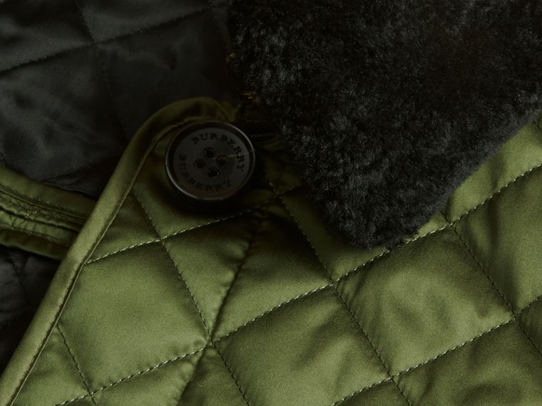 Bright moss green Quilted Jacket with Shearling Collar - cell image 1