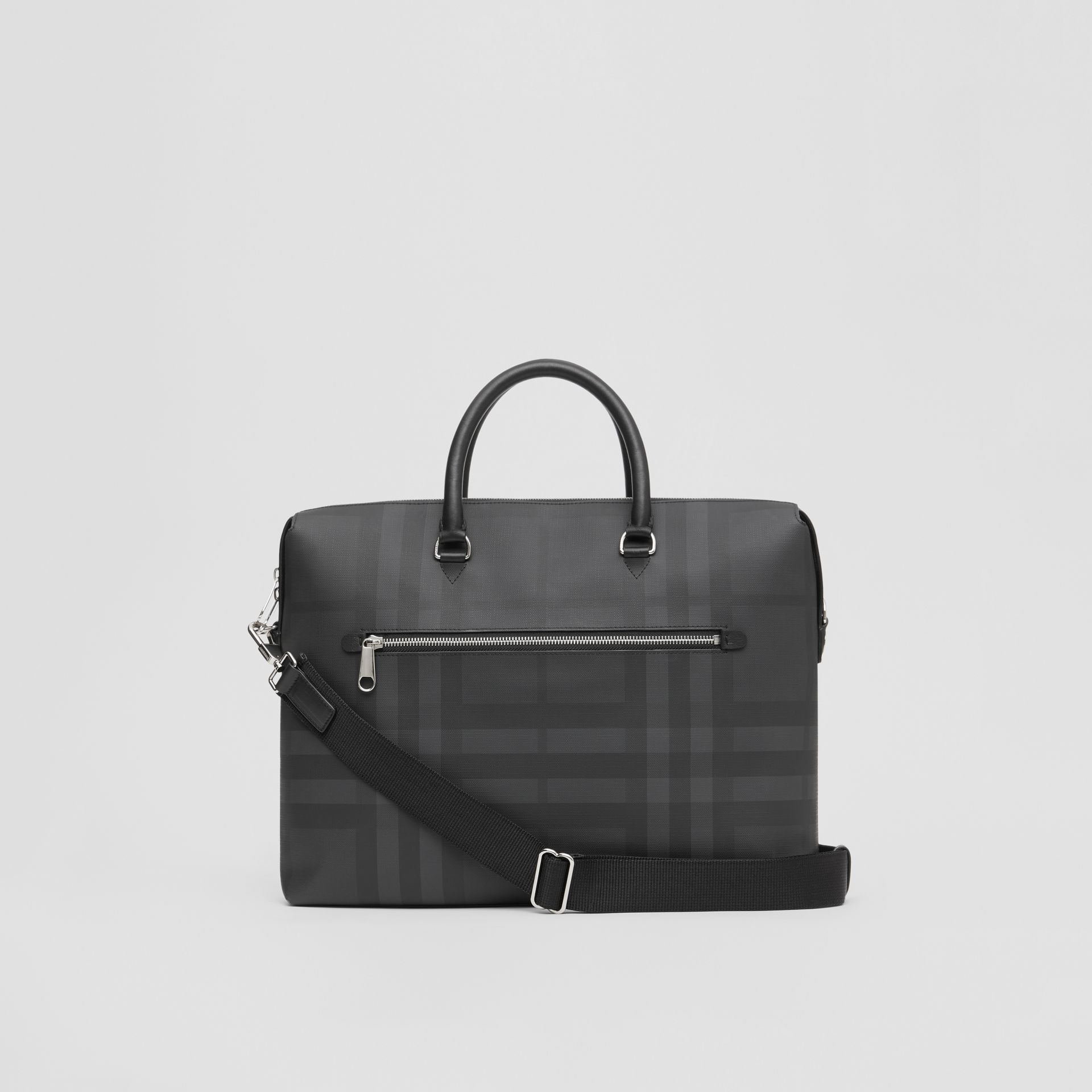 Large London Check and Leather Briefcase in Dark Charcoal - Men | Burberry Hong Kong - gallery image 7