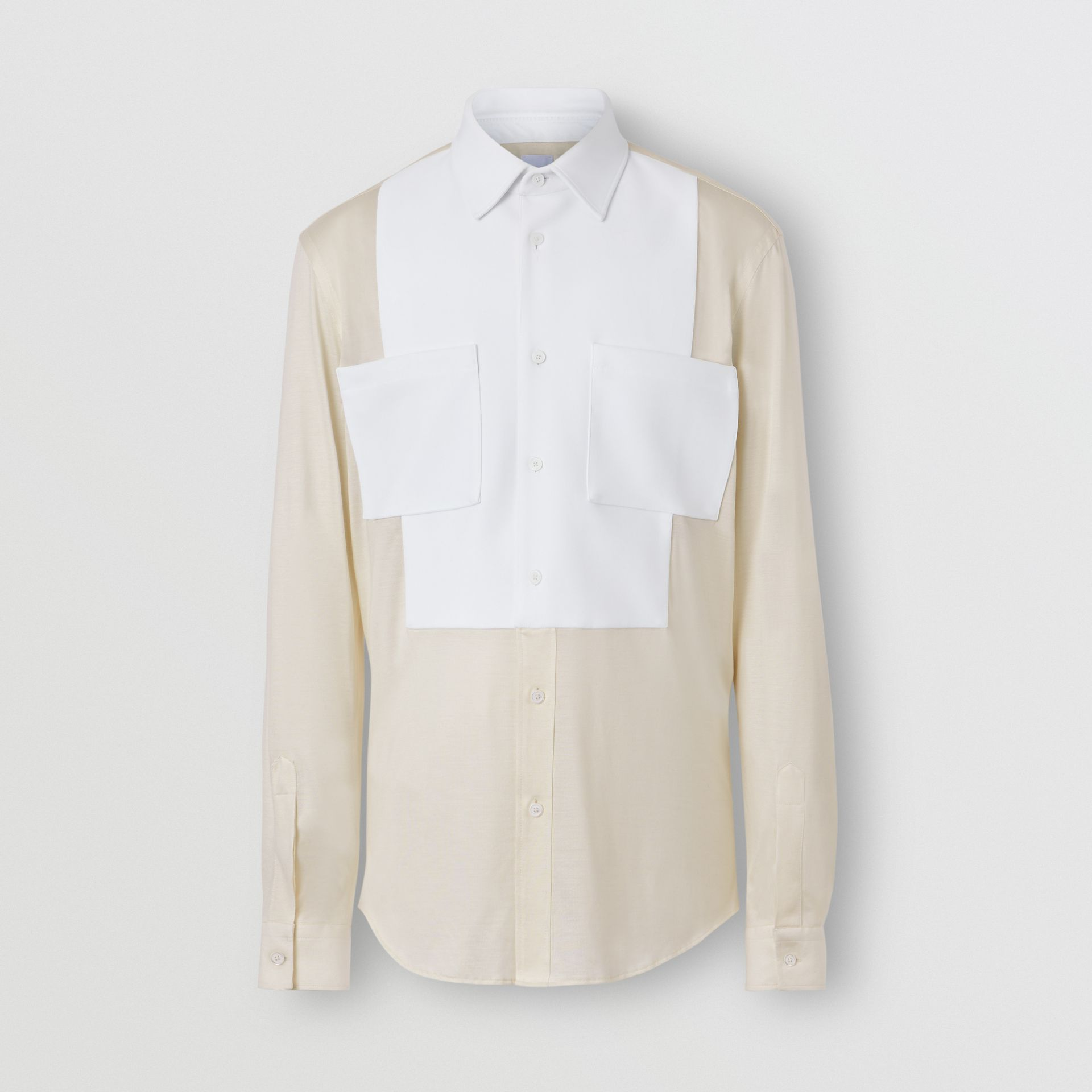 Classic Fit Neoprene Bib Silk Jersey Shirt in Natural White - Men | Burberry - gallery image 3