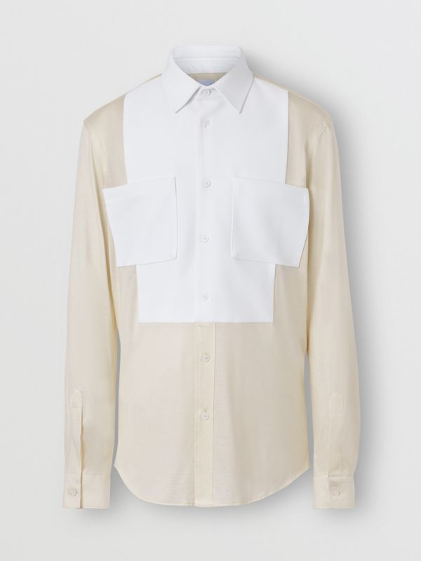Classic Fit Neoprene Bib Silk Jersey Shirt in Natural White - Men | Burberry - cell image 3