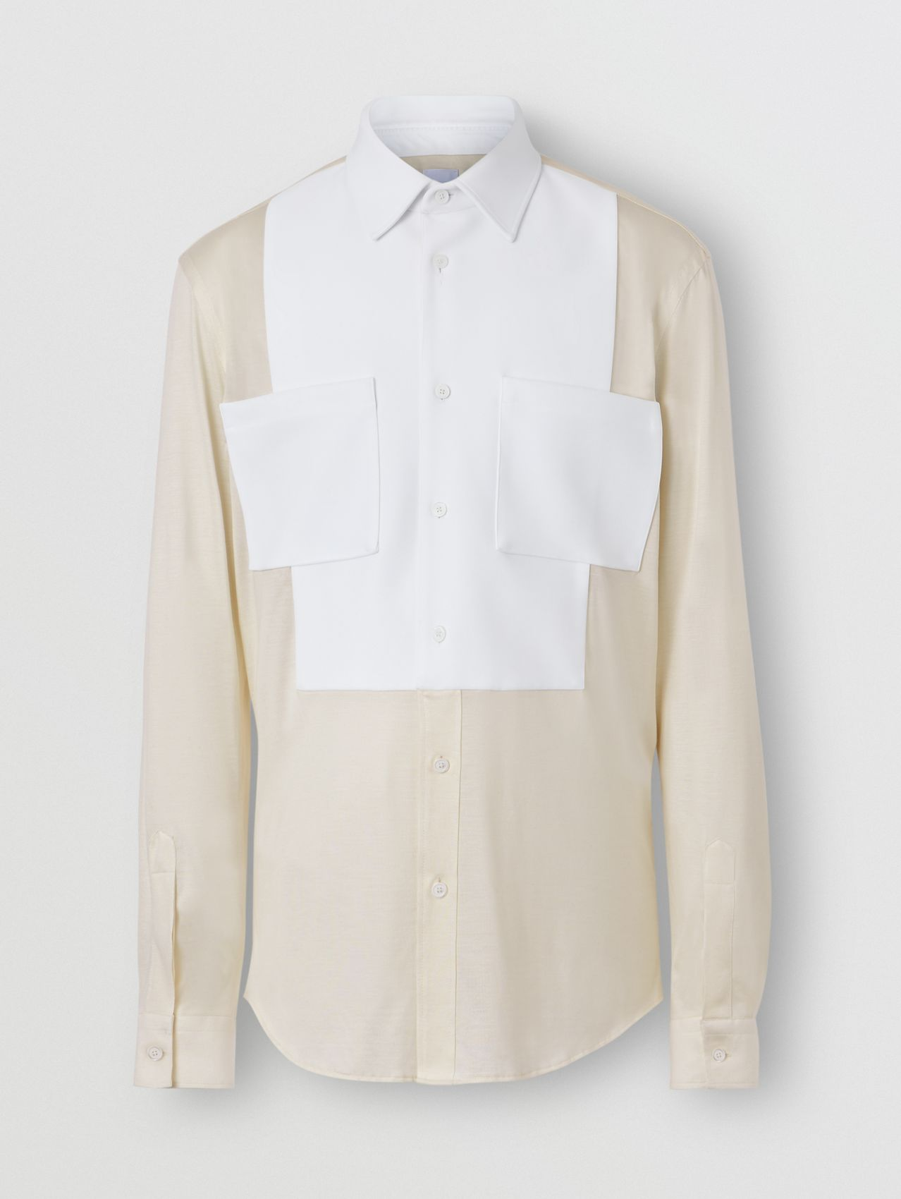 Classic Fit Neoprene Bib Silk Jersey Shirt in Natural White