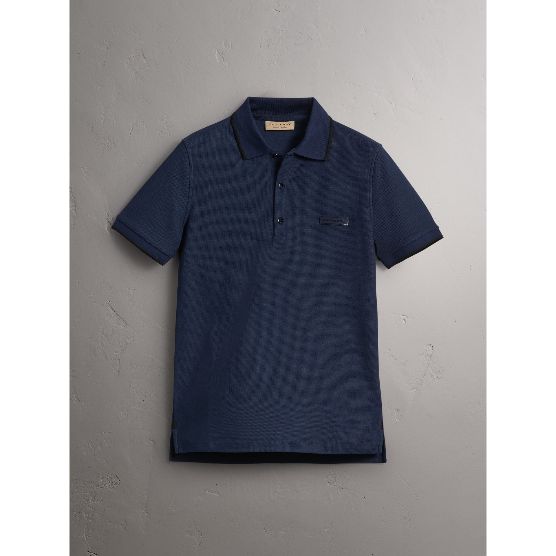 Cotton Piqué Polo Shirt in Navy - Men | Burberry Singapore - gallery image 3