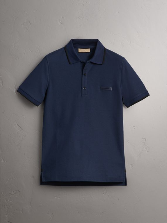 Cotton Piqué Polo Shirt in Navy - Men | Burberry Singapore - cell image 3