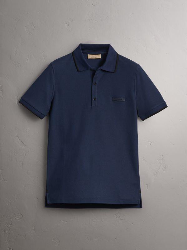 Cotton Piqué Polo Shirt in Navy - Men | Burberry - cell image 3