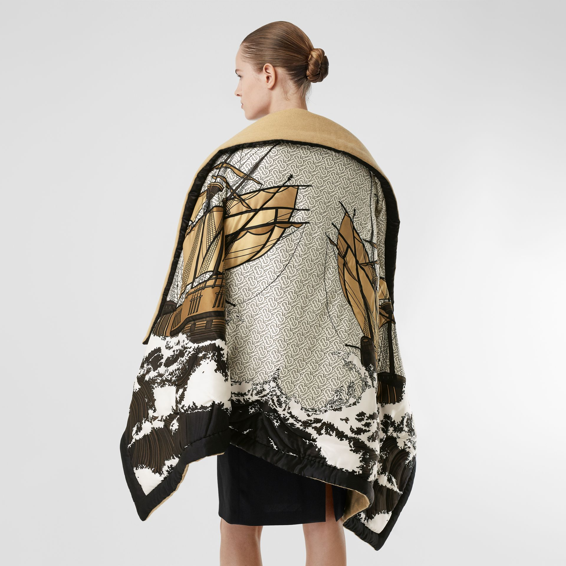 Ship Print Silk Satin Oversized Puffer Cape in White - Women | Burberry - gallery image 2