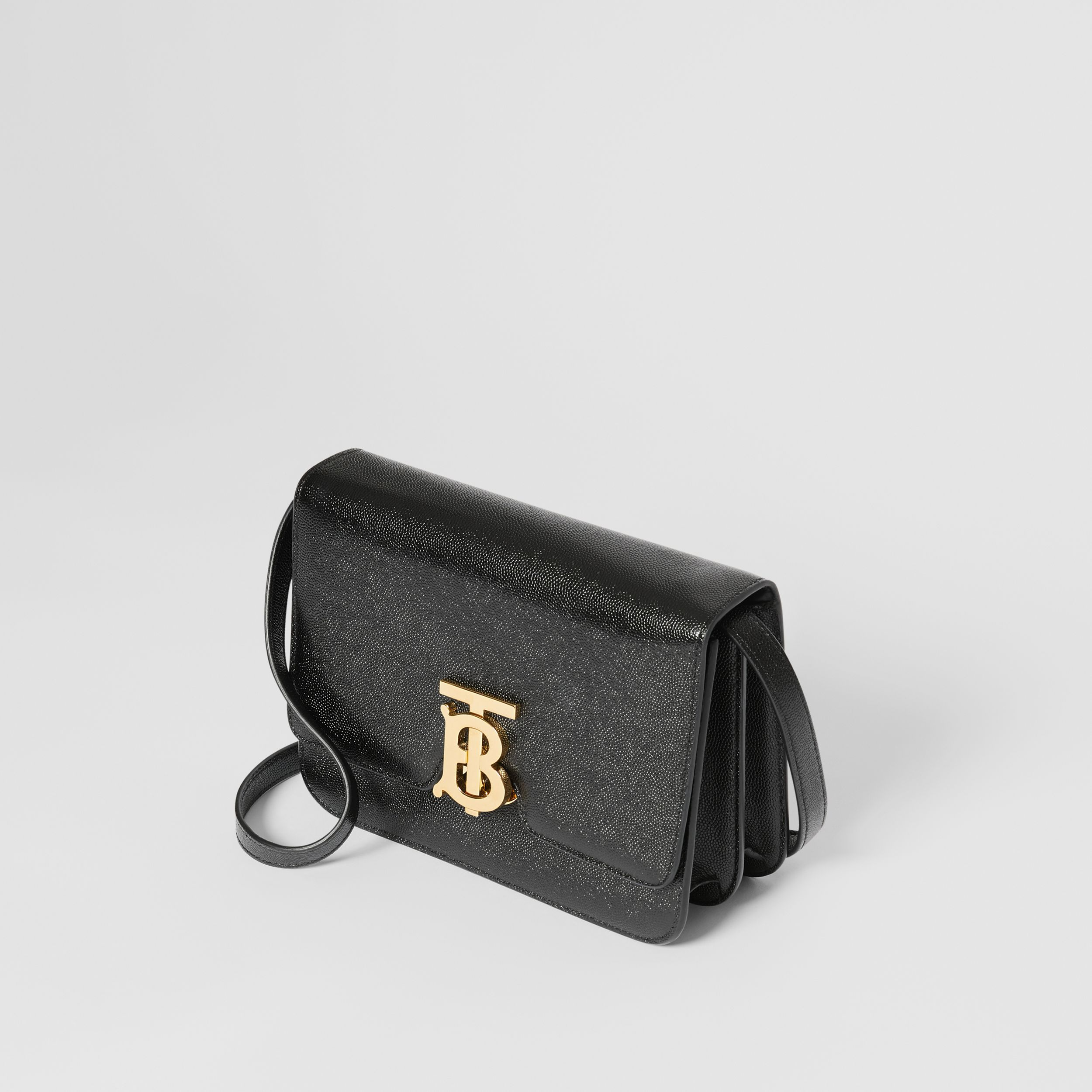 Small Grainy Leather TB Bag in Black | Burberry - 4