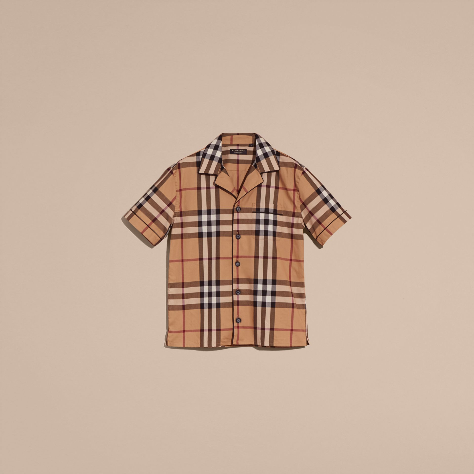 Camel Short-sleeved Check Cotton Pyjama-style Shirt Camel - gallery image 4