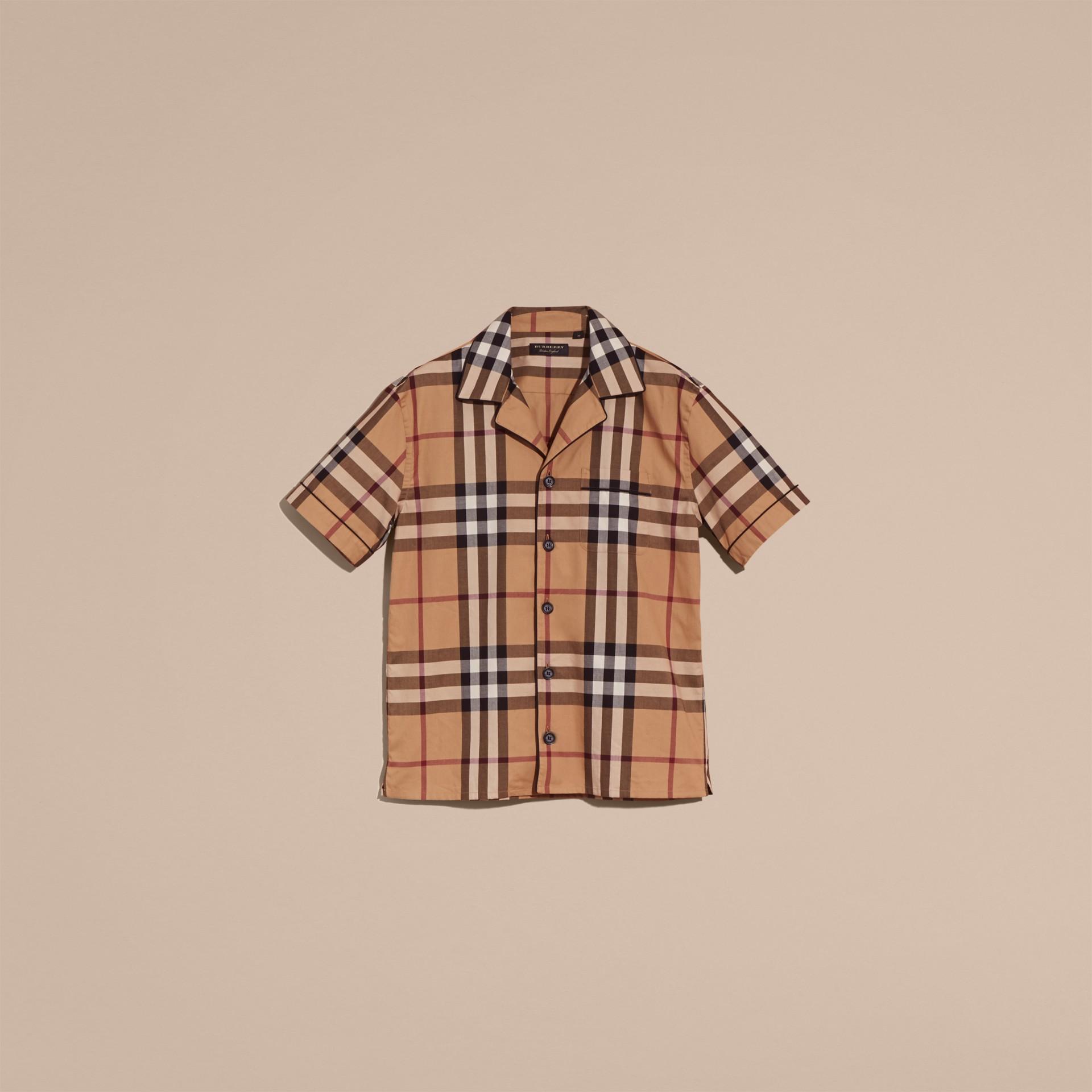 Camel Chemise de style pyjama à manches courtes en coton à motif check Camel - photo de la galerie 4