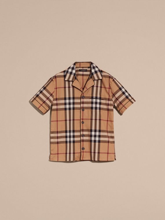 Camel Short-sleeved Check Cotton Pyjama-style Shirt Camel - cell image 3