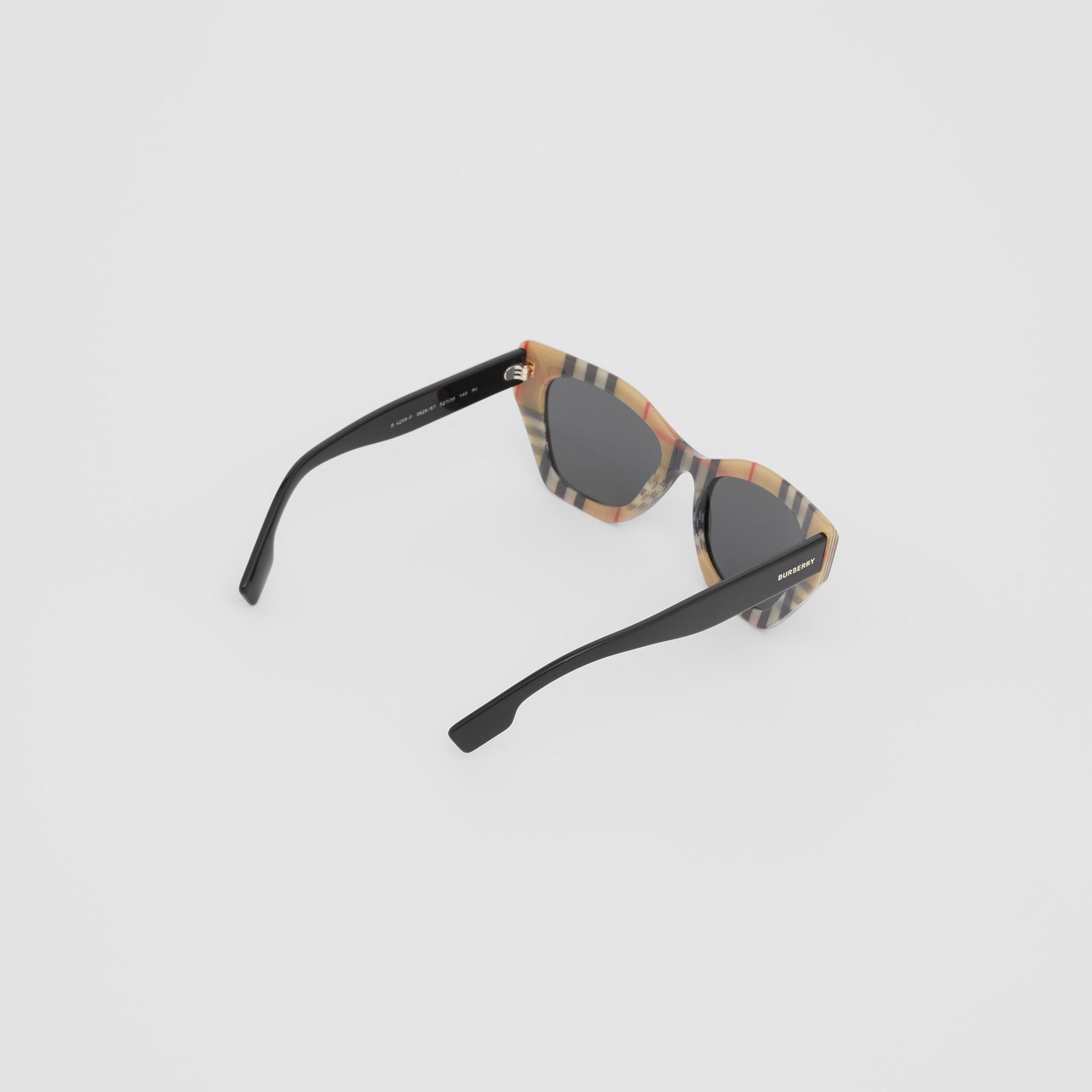Vintage Check Detail Butterfly Frame Sunglasses in Black/archive Beige - Women | Burberry - gallery image 4