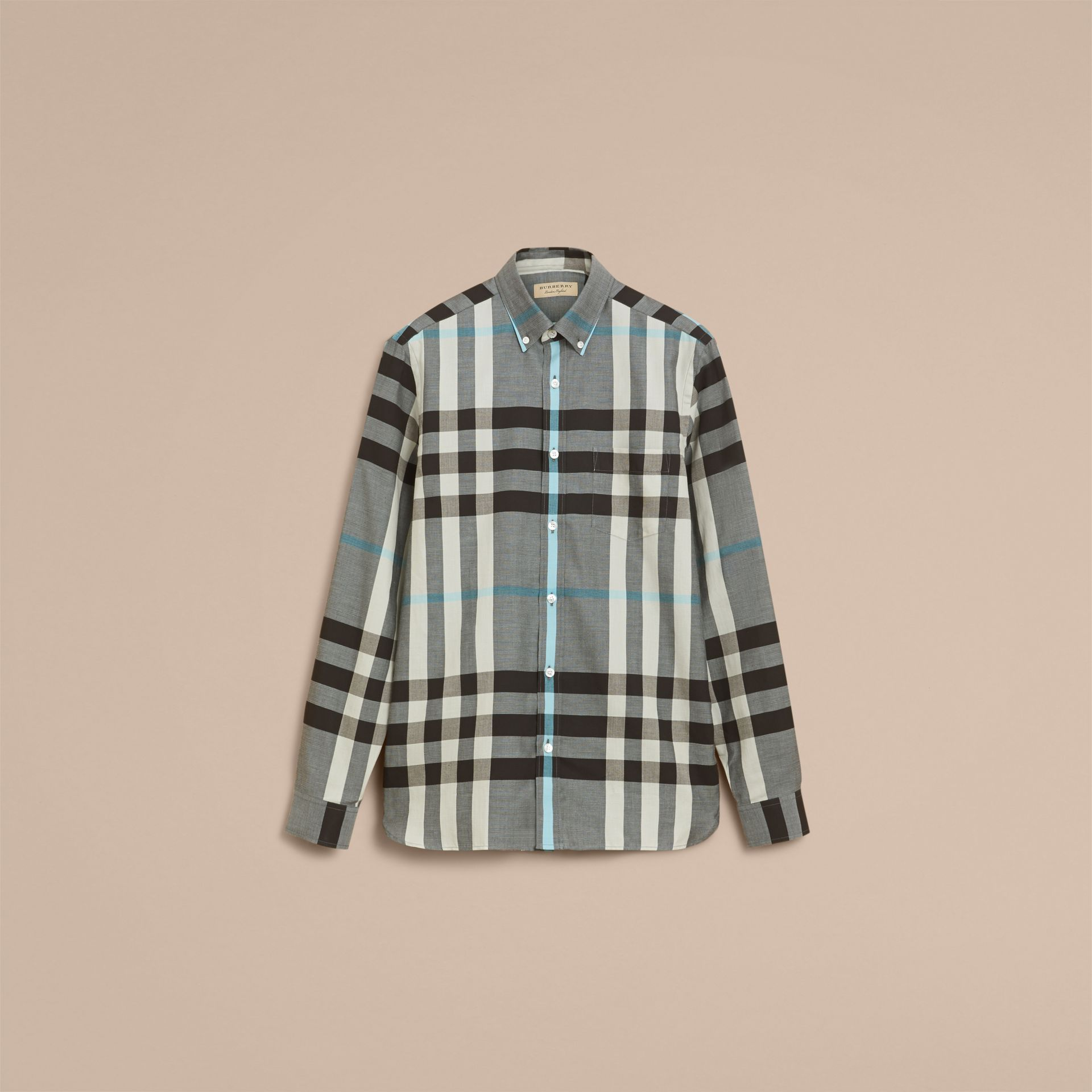 Button-down Collar Check Cotton Poplin Shirt in Mist Grey - Men | Burberry - gallery image 4