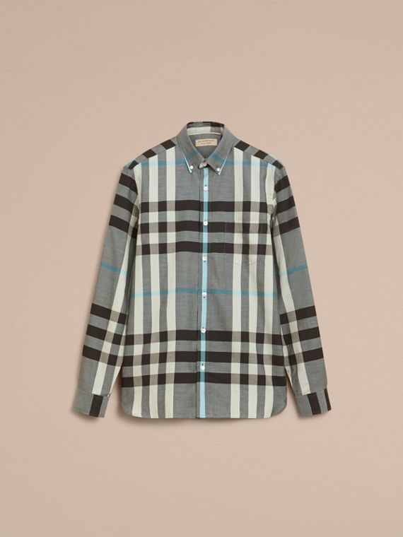 Button-down Collar Check Cotton Poplin Shirt in Mist Grey - Men | Burberry - cell image 3