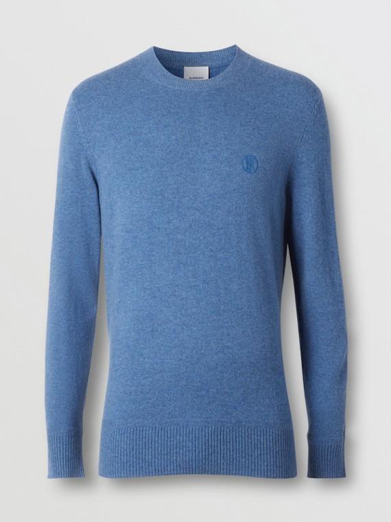 Monogram Motif Cashmere Sweater in Steel Blue Melange