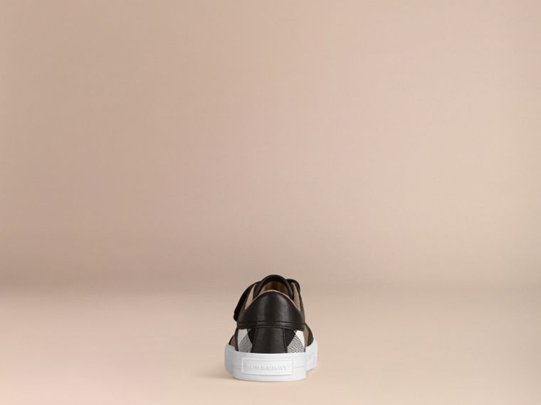 House Check and Leather Trainers in Black | Burberry - cell image 2
